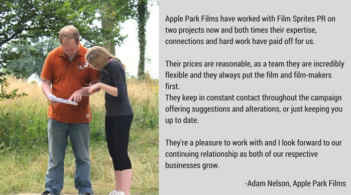 Testimonial Adam Nelson Apple Park Films Film Sprites PR